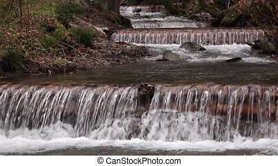 Beautiful landscape rapids on a mountains river and small waterfall
