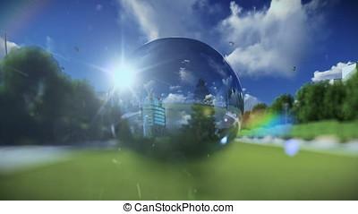 Beautiful landscape seen through a glass orb