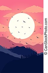 beautiful landscape sunset scene with mountains and birds flying