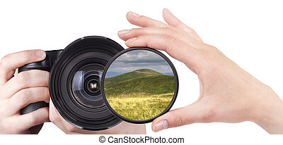 beautiful landscape throw camera filter isolated on a white