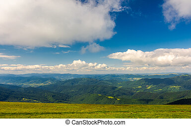 beautiful landscape under the summer sky. fluffy clouds over...