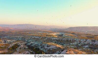 Beautiful landscape view of Cappadocia at sunset.