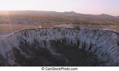 Beautiful landscape view on white mountains and valley. Goreme National Park, Cappadocia, Turkey.