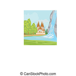beautiful landscape with a castle on the lake