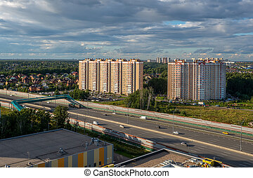 Beautiful landscape with a city block on the outskirts of the city, aerial view