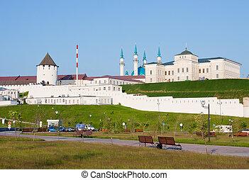 beautiful landscape with a kind on Kremlin, city Kazan, ...