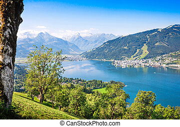 Beautiful landscape with Alps and Zeller See in Zell am See
