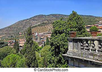 Beautiful landscape with balustrade terrace in old village, Tuscany, Italy