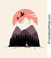 beautiful landscape with birds and mountains