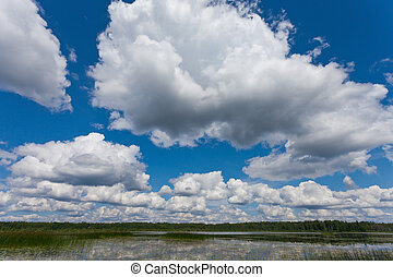 Beautiful landscape with blue sky and clouds.
