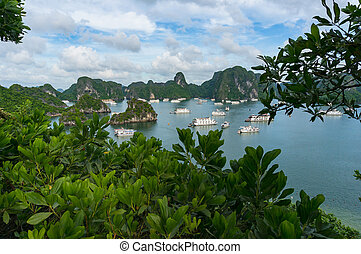 Beautiful landscape with cruise boats in Halong bay
