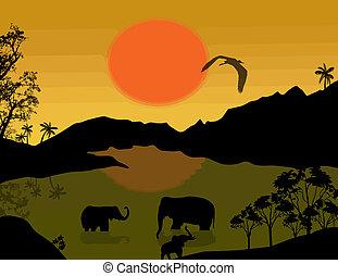 Beautiful landscape with elephants