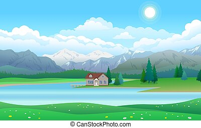 Beautiful landscape with house on lake, forest and mountains