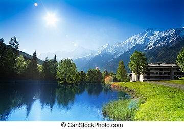 Beautiful landscape with lake in Chamonix, France