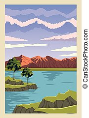 beautiful landscape with lake scene