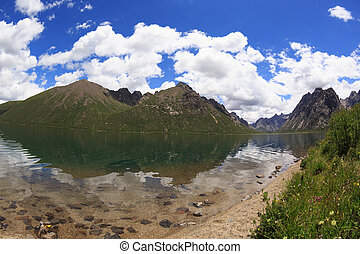 beautiful landscape with lake under blue sky