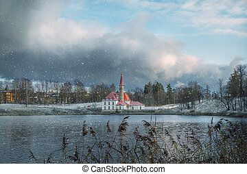 Maltese Palace by the water in winter. Gatchina,