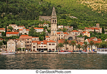 Beautiful landscape with mediterranean town - Perast, Kotor bay, Montenegro