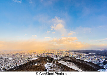 Beautiful landscape with moiwa mountain around tree in snow ...