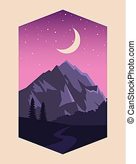 beautiful landscape with mountain and moon scene
