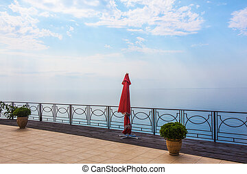 beautiful landscape with parapet sea and sky