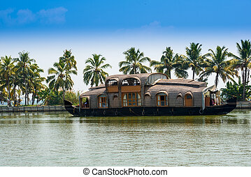 beautiful landscape with reflection houseboat in kerala ...