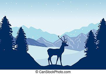 beautiful landscape with reindeer scene