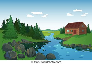 Summer landscape with House and river