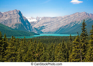Beautiful landscape with Rocky Mountains and mountain lake
