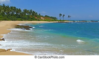 beautiful landscape with sea waves on tropical beach and...