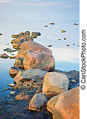 Beautiful landscape with stones in The Baltic Sea