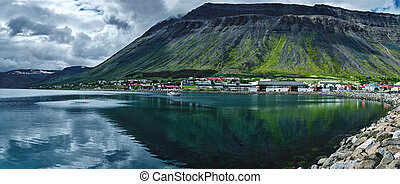 beautiful landscape with the fjord in Iceland