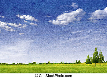Beautiful landscape with tree, grass green field, forrest and blue sky on paper texture