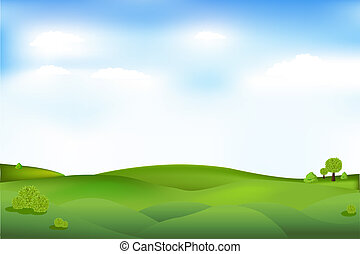 Beautiful Landscape With Trees And Clouds In Sky, Vector...