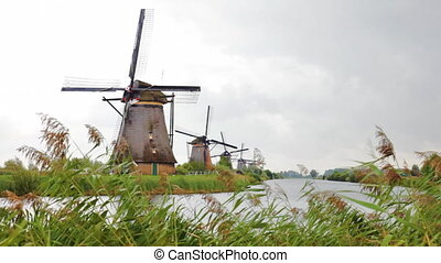 Beautiful landscape with windmills in Kinderdijk, Holland