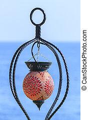 Beautiful lantern on the Mediterranean Sea in Kemer