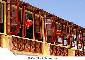 Beautiful lanterns in famous Chinatown in Santorini island, Greece