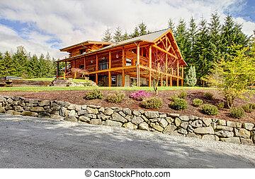 Beautiful large American classic log cabin home.