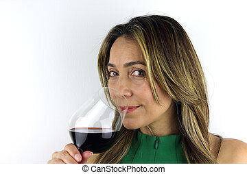 Woman with a glass of red Wine