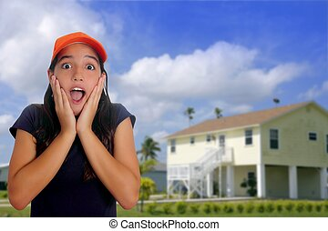 Beautiful Latin teen hispanic girl cap surprise gesture