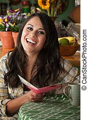 Beautiful Latina Woman with Funny Card - Beautiful Latina...