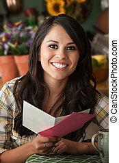Beautiful Latina Woman at Table in Kitchen Greeting Card