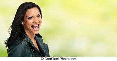 Beautiful laughing asian woman.