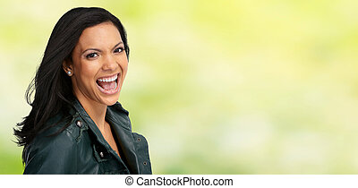 Beautiful laughing asian woman.