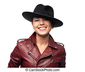 Beautiful laughing woman on a white background is isolated with clipping path.