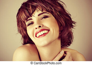 beautiful laughing woman with short hair
