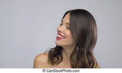 beautiful laughing young woman with red lipstick - beauty,...
