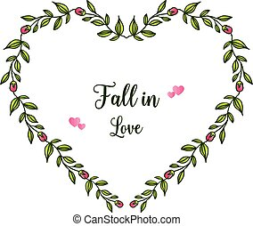 Beautiful leaf wreath frame, for lettering fall in love. Vector