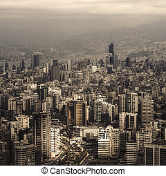 Beautiful Lebanon cityscape, aerial view, arabic architecture, tall buildings, travel and tourism concept