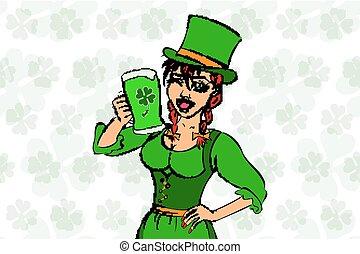 Beautiful leprechaun girl with ale